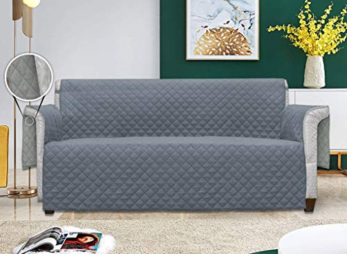 SNUZZI Luxury 1|2|3 Seats Slipover quilted Reversible Sofa Couch Protector & Cover, Protect from Spills, Stains, Shedding Pets Hairs, dust, Scratches, Non-Slip backing(3Seater, Grey/Silver)