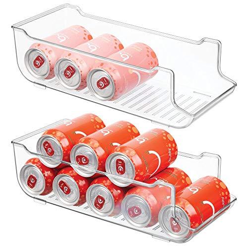 mDesign Juego de 2 cajas de almacenaje para frigorífico y armarios de cocina – Contenedores de plástico con capacidad para 9 latas – Práctico organizador de nevera – transparente