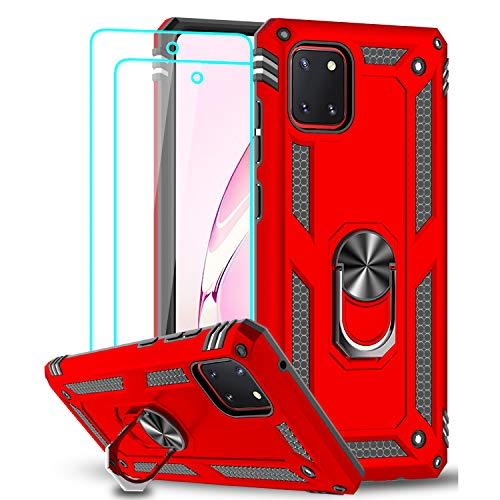 LeYi für Samsung Galaxy Note 10 Lite/A81 Hülle mit Panzerglas Schutzfolie(2 Stück),360 Grad Ring Halter Handy Hüllen Cover Magnetische Bumper Schutzhülle für Case Samsung Galaxy A81 Handyhülle Rot