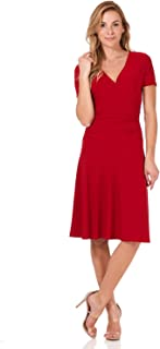 Women's Slimming Short Sleeve Fit-N-Flare Crossover Tummy Control Dress