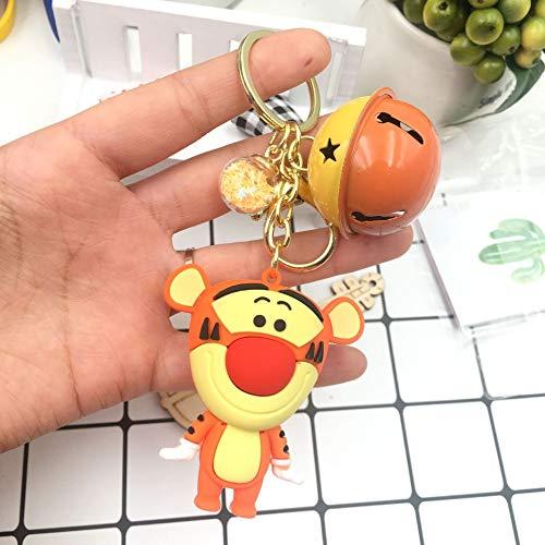 Keychain Disney Cartoon Figure Keychain Lanyard Bell Mickey Stitch Winnie Doll Keychains Bag Charm Car Pendant For Boys Girls Toy Gift key ring (Color : 6, Size : Normal)