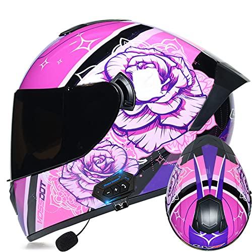 Casco Bluetooth modular para motocicleta, abatible hacia arriba, doble visera solar, casco completo, certificado DOT, para hombres y mujeres adultos casco de protección,C,M 57~58cm