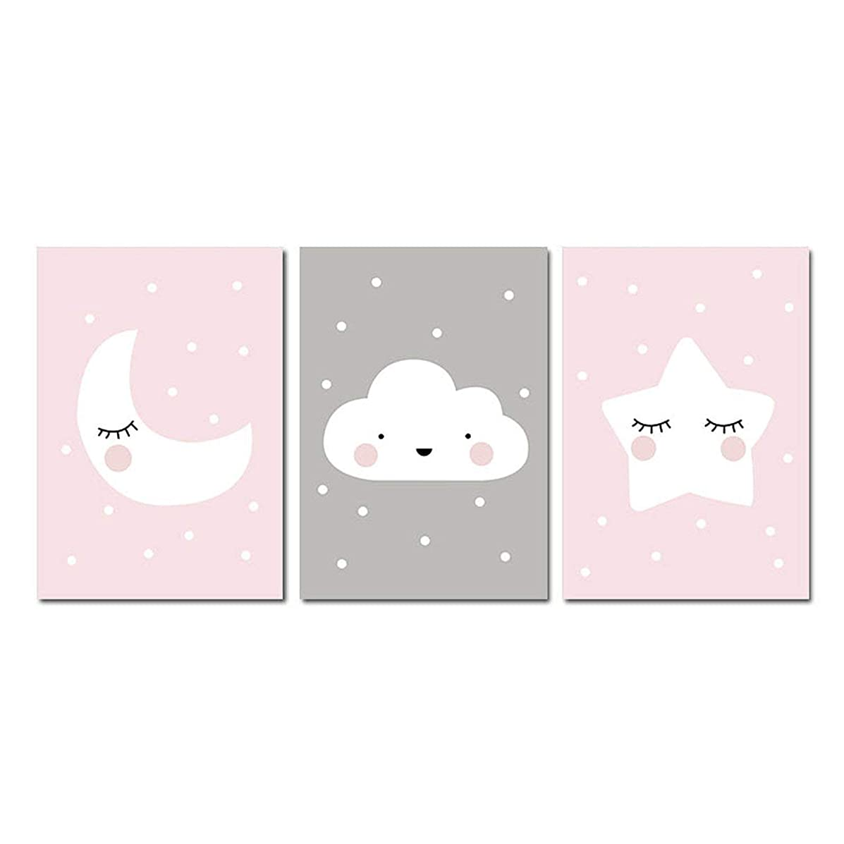 ACOMY Pink Moon Cloud Star Nursery Child Poster Cute Art Decorative Print Wall Painting Decoration Picture Nordic Kid Baby Room Decor,A4 21x30cm No Frame,3 pcs Set