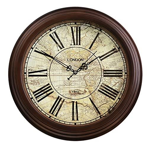 Reloj de pared sin garrapatas funciona con pilas, estilo retro europeo de 16 pulgadas de madera maciza sala de estar dormitorio decoración números romanos estilo retro