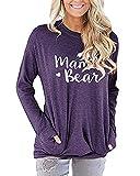 Blusa Mujer Camiseta Casual de Manga Larga con Cuello Redondo y Bolsillos Color Sólido Jerséis Pullover Tops Otoño Suelto Impresión de Cartas Sudaderas Túnica Basica Camisa Púrpura-C XL