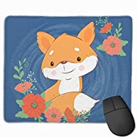 マウスぱっど ポピーの花束が付いているかわいい漫画フォックス長方形のノンスリップゴムベースマウスパッドゲームとPCとラップトップ用のオフィスマウスパッド9.8 X 11.9インチ