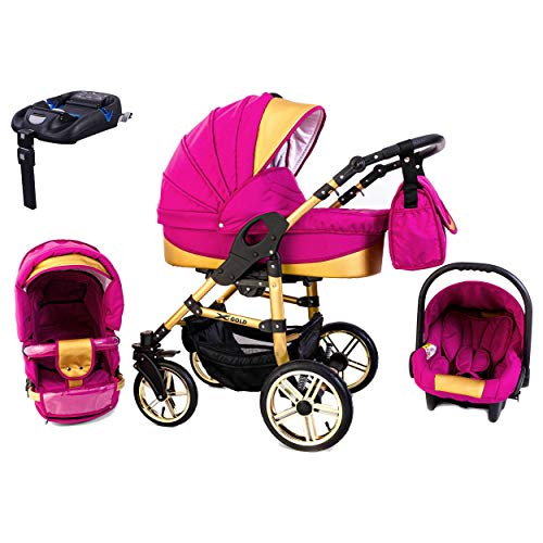 Tabbi ECO X GOLD | 4 in 1 Kombi Kinderwagen Hartgummi Pink