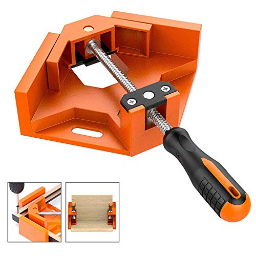 Right Angle Clamp Wood clamps Single Handle 94 Degree Aluminum Corner Clip Clamp, Right Angle Vise Clamp with Adjustable Swing Jaw for Photo Frame Welding Woodworking Tools Hand Tools,Orange