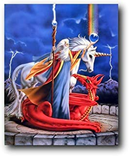 Unicorn Storm Chaser Wizard Fantasy Kids Room Wall Decor Art Print Poster (16x20)