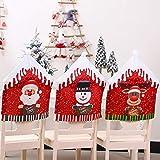 XHONG - Set di 6 coprisedie natalizie, motivo pupazzo di neve, Babbo Natale, alce, per sala da pranzo, vacanze, decorazioni natalizie, 47 x 59,9 cm