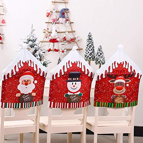 Moonvvin 6 fundas de silla de Navidad, cubierta de mesa de cena, cubierta trasera de gorro rojo, decoración de Navidad para banquetes de Navidad, decoración de cocina, comedor