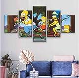 Aehoor Moderna Art 5 Piezas/Set HD Cuadro en Lienzo Impresión Artística Imagen Gráfica Decoracion de Pared Pintura de Pared Corredor Oficina Sala Decorativo The Simpsons 100/80/60x40CM Frameless