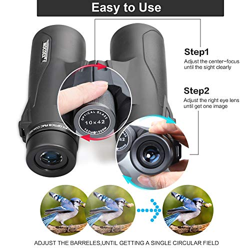 NOCOEX Binoculars for Adults,10x42 Compact HD Binoculars with Low Light Night Vision for Bird Watching Hunting Hiking Travel Stargazing Concerts Sports, BAK4 Prism FMC Lens with Strap Carrying Bag