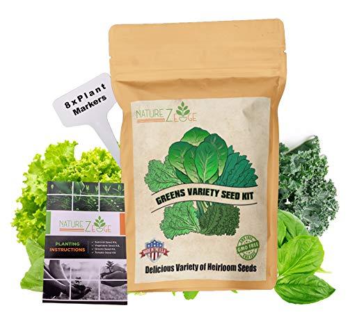 NatureZ Edge Greens 8 Varieties, Seeds for Planting Vegetables, Vegetable Seeds Packs, Lettuce Seeds, Arugula Salad Seeds, Lettuce Seeds for Planting Home Garden, Non-GMO