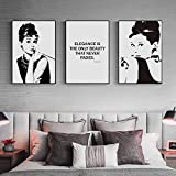 Schwarz Weiß Audrey Hepburn Wandkunst Leinwand Malerei