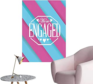 Wall Decorative We are Engaged Quote with Bold Striped Backdrop Image Blue and Purple Pictures Wall Art Painting,24