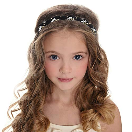 Morebrave Pearl Headbands Sparkling Bejewelled Rhinestone Hairband Cute Headdress Wide Elastic Hair Hoop Crystal Embellished Headband Hair Accessories Engagement Birthday Party for Women and Girls(Pearl black thin)