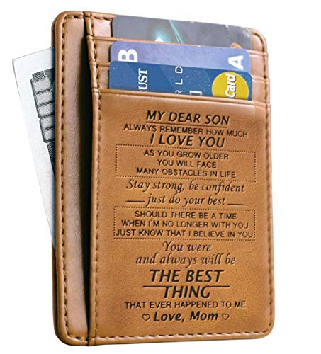 Slim Wallet Cowhide wallet RFID Front Pocket Wallet Minimalist Wallets Gift for son from Mom (To My Son - Love Mom)