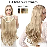 SARLA 24' 160g Long Straight & Natural Wave Full Head U-part Hair Extension Clip in Hairpieces Heat-resistant Fiber UH16 & UH17 (24' Natural Wave, 27/613 Cafornia Blonde)