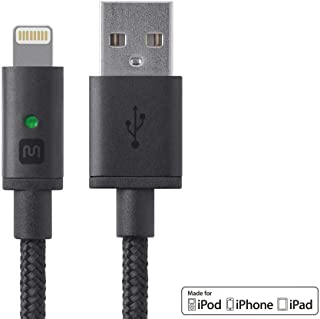 Monoprice Apple MFi Certified Lightning to USB Charge & Sync Cable - 6 Feet - Black Compatible with iPhone X 8 8 Plus 7 7 Plus 6s 6 SE 5s, iPad, Pro, Air 2 - Luxe Series