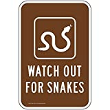 Watch Out for Snakes Reflective Sign, 18x12 in. with Center Holes on 80 mil Aluminum for Recreation by ComplianceSigns