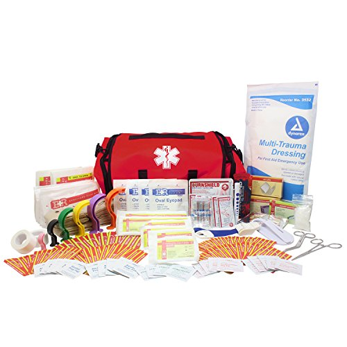 Dixie EMS Fully Stocked 147 Piece First Responder On Call Kit (Red)