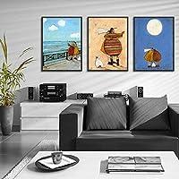 キャンバスに印刷ロマンチックな幸せな白い羊の外観海の抽象的なポスター寝室のリビングルームの家の芸術の壁の装飾のために現代-50x70cmx3フレームなし