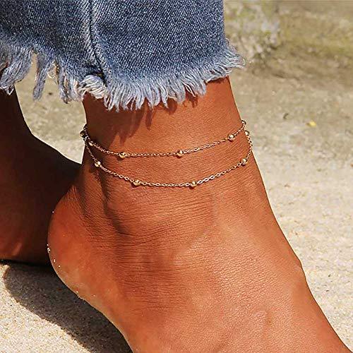 Edary Beach Doppelschichtiges Perlen-Fußkettchen, einfaches Fußkettchen, modischer Fußschmuck für Damen und Mädchen