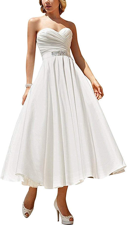 Alexzendra Tea Length Wedding Dress for Bride 2019 Sweetheart Pleats Women's Bride Gowns