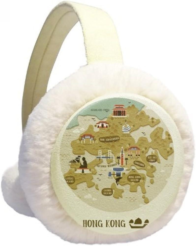 Hong Kong Traditional Map China Winter Ear Warmer Cable Knit Furry Fleece Earmuff Outdoor