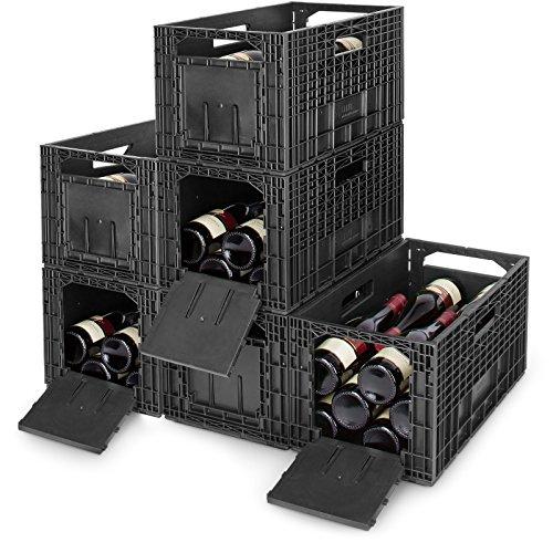 CABKA 6er Set WEINBOX - Das Flexible Weinregal, Kunststoff, schwarz, 48.5x56.6x24.7 cm