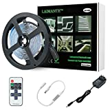 Laimante 5m/16.4ft 12V Led Light Strip Kit, 6000K Daylight White, SMD 2835 300LEDs Dimmable Led Tape with RF Remote Controller and UL Listed Power Supply, Under Cabinet Kitchen Mirror Strip Lighting