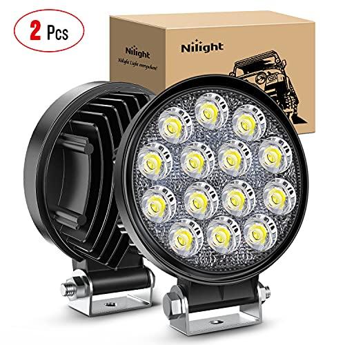 Nilight LED Phare 12v 24v,2PCS 42W 11.5cm 4200Lm Projecteur Flood Phare de Travail Moto Rond Longue Portee LED Phare LED Moto Feux de Travail Lampe de Travail pour Truck ATV SUV IP67