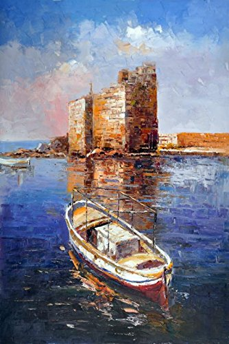 Polyster Canvas ,the Reproductions Art Decorative Prints On Canvas Of Oil Painting 'a Boat On The Calm Water', 10x15 Inch / 25x38 Cm Is Best For Bathroom Artwork And Home Artwork And Gifts