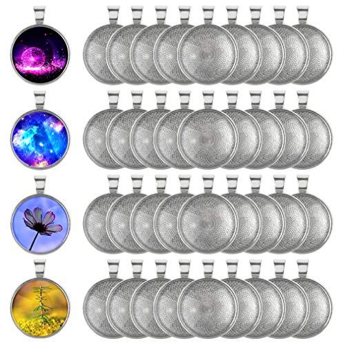 baotongle 40 Stück Anhänger Lünette Silber überzogene Runde Tabletts ,25mm Durchmesser für Basteln DIY Schmuck Geschenk Machen