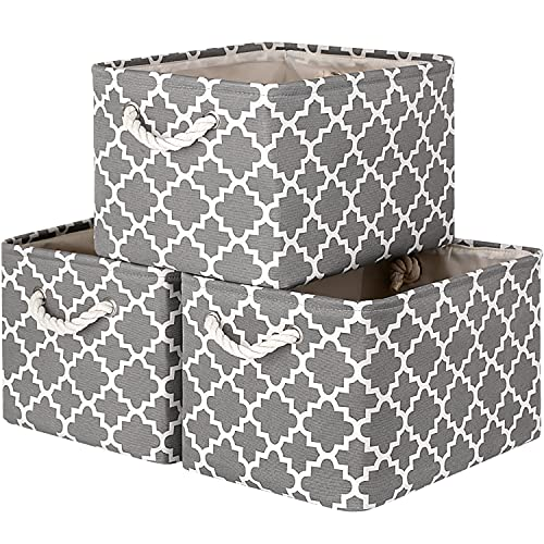 WISELIFE Storage Basket [3-Pack] Large Collapsible Storage Bins Boxes Cubes for Clothes Toys Books, Perfect Storage Organizer w Handles (Grey,15  x 11  x 9.5 )