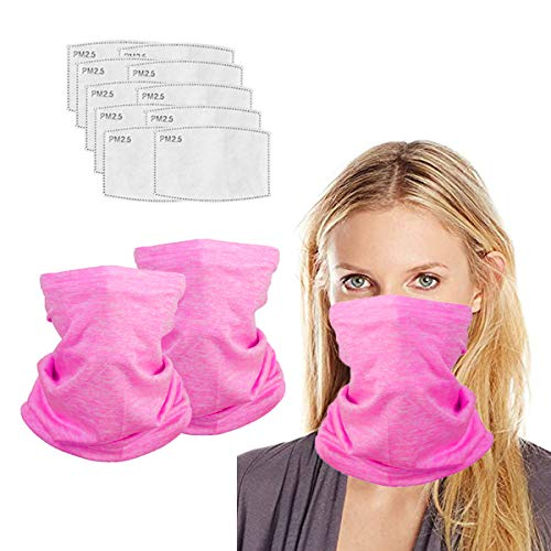 Neck Gaiter with Filters for Men Women, Face Cover Multifunction, Mask Half Face Protective Bandana, Washable Reusable, Infinity Scarf, Pink Balaclava, Gift for Adult, Anti Dust Protection.