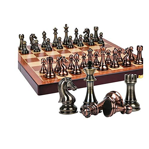 HYXXQQ International Chess Set with Folding Chess Board and Classic Handmade Standard Pieces Metal Chess Set for Kids Adult