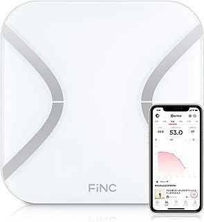 FiNC SmartScale (スマホ連動 体組成計 自動記録 Bluetooth)【薄型 高性能体重計 体重/BMI/内臓脂肪/体脂肪/体年齢/基礎代謝/皮下脂肪 11項目測定】 iPhone&Android対応 ヘルスメーター 体重計 は...