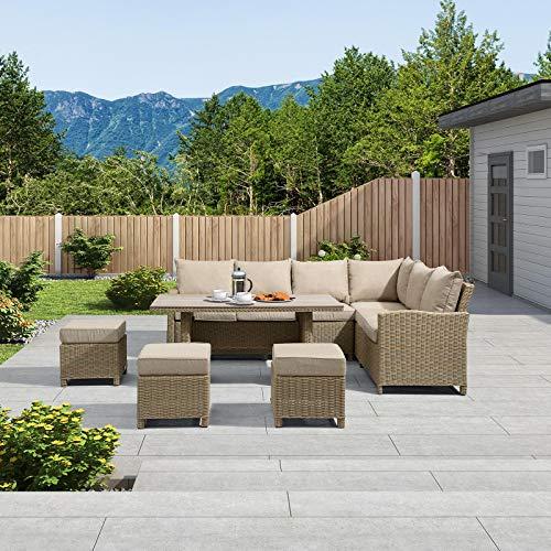 Nova Outdoor Living Ciara - Juego de sofá esquinero de ratán para exteriores con mesa de polimadera