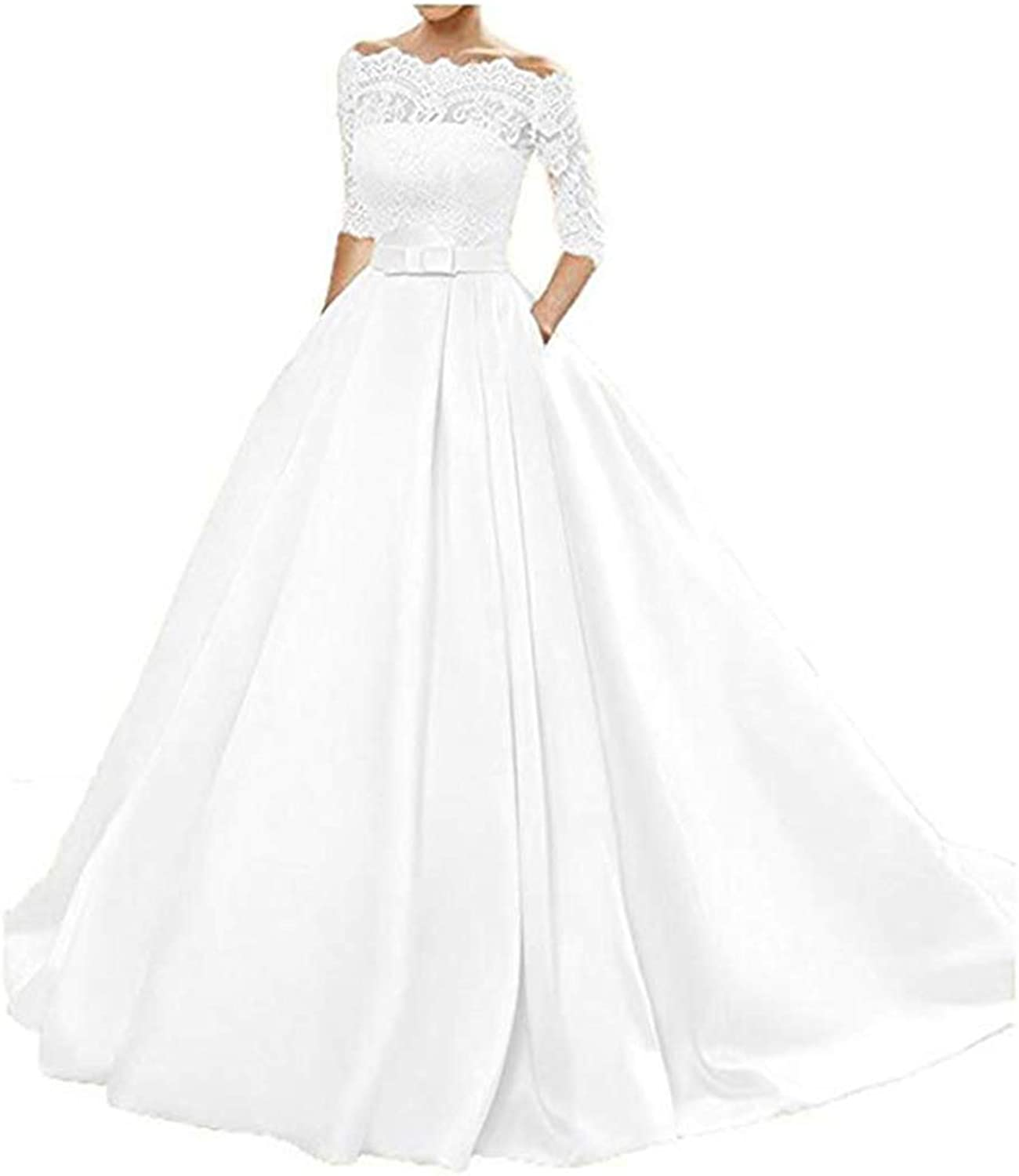 Olise bridal Glamgoldus Women's Lace Wedding Dresses 3 4 Sleeves White Sweep Train Satin Wedding Bridal Gowns Plus Size