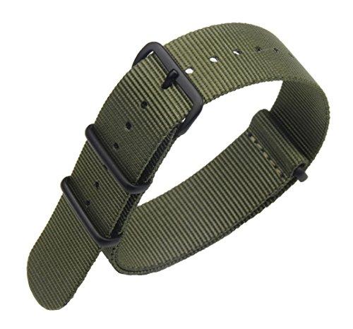24mm ejército de Lujo de Nylon Duradero de la NATO Las Pulseras para Relojes Estilo de Bandas Militares Verdes reemplazos para los Hombres