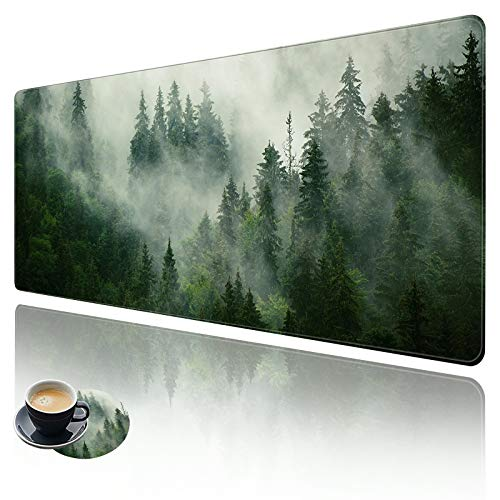 Extended Large Gaming Mouse Pad with Stitched Edges, XXL Mouse Pad Large (31.5x11.8 Inch) w/ Brilliant Design, Desk Mat Keyboard Pad with Anti Slip Base, Multifunctional Desk Pad - Forests