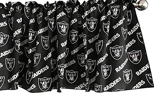 Zen Creative Designs 100% Cotton Football Sports Team Raiders Black Multi-Print Window Valance Panel/Kids Nursery Window Treatment Decor (16