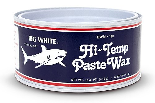 White, red, and black can of finish kare high temp wax 1000p.