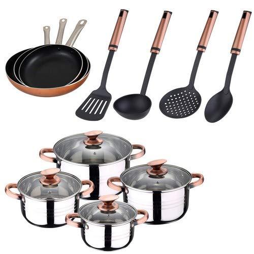San Ignacio BATERÍA 8 Piezas SIP + 3 SARTENES Professional Chef Copper 20/24/28 + 4 Utensilios Sigma COOPPER Cocina, Cromado