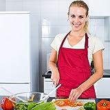 Diealles Kochschürze, Schürze Küchenschürze mit Bindeband und Verstellbare Nackenschlaufe für Frauen Männer Chef, 71 × 66 cm, Rot - 2