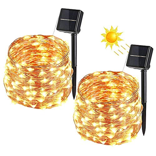 BrizLabs Cadena Luces Solares 2 Paquete 100 LEDs 10m Guirnalda Luces Solares Exterior Impermeable Iluminación Alambre de Cobre para DIY Navidad Jardín Ventana Valla Boda Decoración, Blanco Cálido