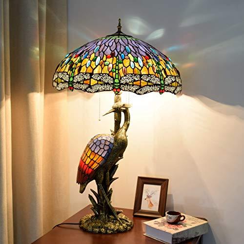 Schreibtisch und Stuhl Nachttischlampe, Tiffany Nachtlicht F 18 Zoll Tiffany-Art Große Tischlampe Dunkelrot Blaue Libelle Schreibtischlampe kreative antike helle Unterseite for Wohnzimmer Study Schlaf