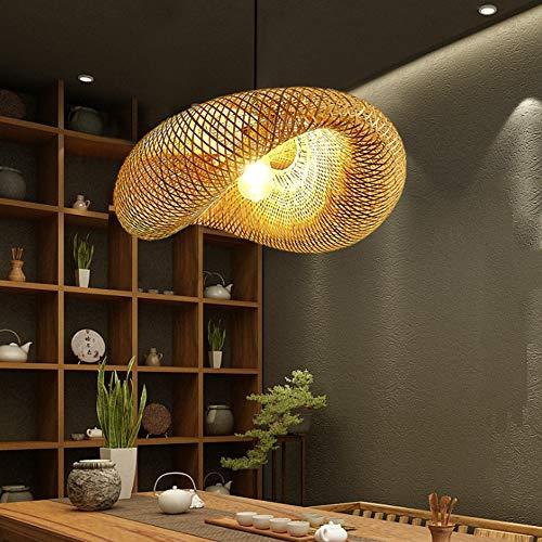 Lámpara de campo colgante de bambú retro Tejido de bambú tejido a mano de bambú colgante de ratán E27 Lámpara colgante de altura ajustable Villa Dormitorio Pasillo Iluminación Decoración Araña, 50 cm